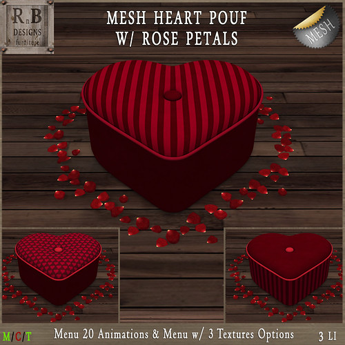 RnB Mesh Heart Pouf w Rose Petals (20 Anims) - Red