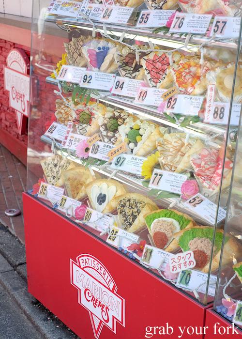 Plastic crepe display menu at Marion Crepes on Takeshita Dori in Harajuku, Tokyo