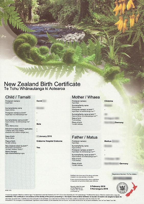 Neuseeländische Geburtsurkunde