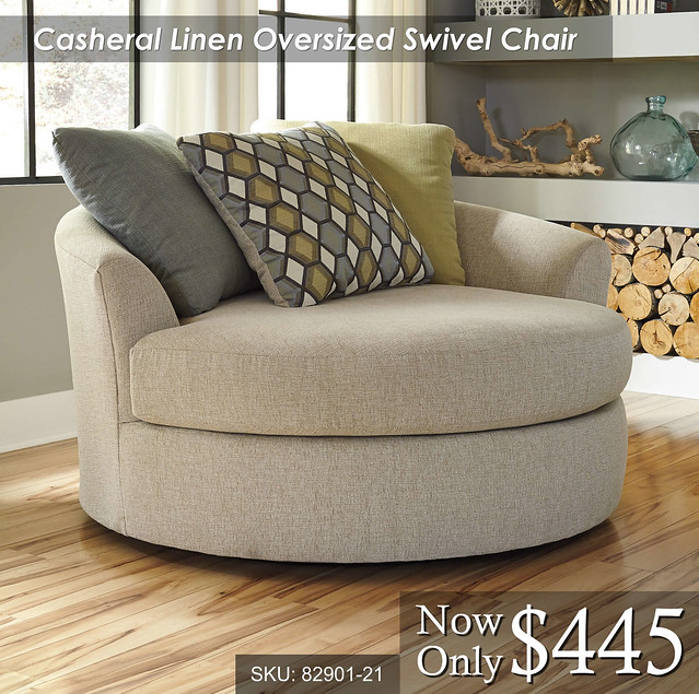 Casheral Linen Oversized Swivel Chair