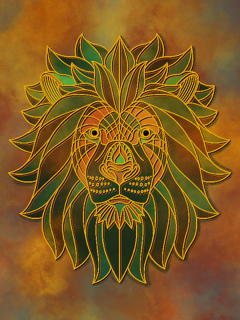 Digital collage with lion