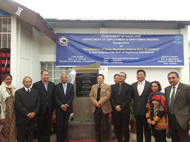 04. Ranjit Barthakur, S. Ramadorai, TR Zeliang with other dignatories at ITI Kohima inauguration on 100216
