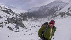 Gospodarz schroniska Chamanna Boval. Zjeżdżamy lodowcem i doliną Mortaretsch