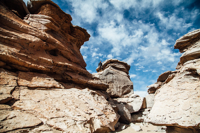 Rock climbing in the Siloli Desert