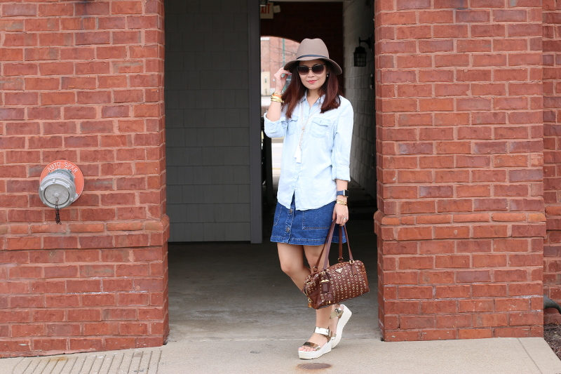 Chambray-button-down-shirt-denim-skirt-prada-bag-3