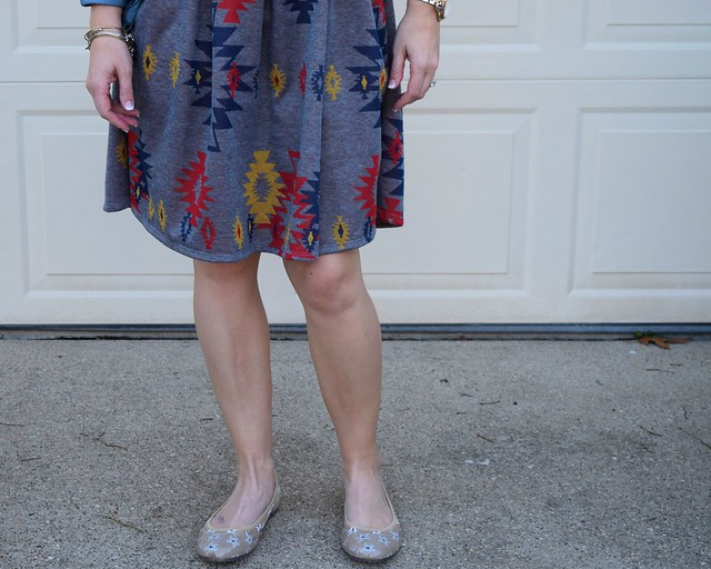 Ja-Vie flats Spring Starfish Pattern with a dress