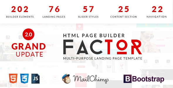 Factor v2.0 - Multipurpose Landing Page Template With Page Builder