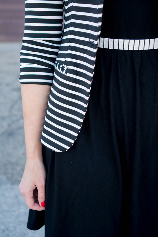 black Old Navy dress + stripe Target blazer + stripe belt + yellow Sole Society heels | Style On Target