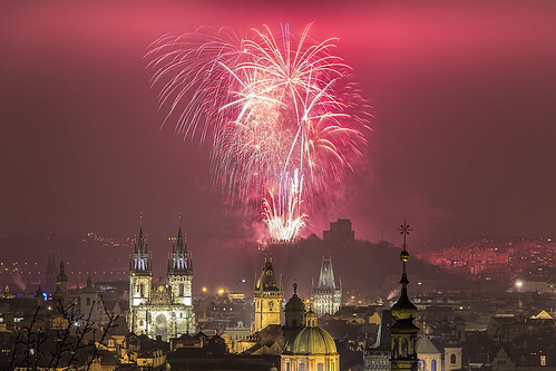 Prague New Year 2016 fireworks. Happy New Year!