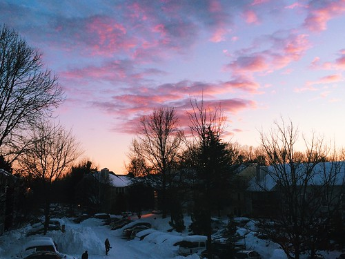winter sunset after the blizzard