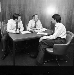 Councilmembers Paul Kraabel and John Miller with Mayor Charles Royer, 1979
