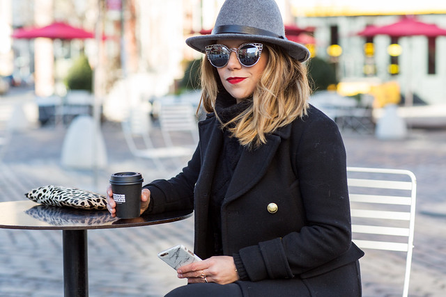 jcrew black sweater knit cable sweater club monaco felt hat chanel flats weekend outfit new yorker outfit what to wear all black outfit reflective sunglasses two tone flats ag skinny jeans black peacoat corporate catwalk nordstrom mac ruby woo lipstick Clare v leopard clutch kate spade watch NDC phone case
