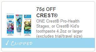 Crest kid's toothpaste