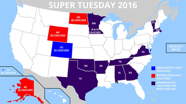 Map of Super Tuesday States 2016