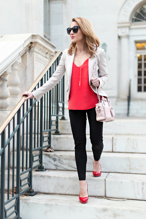 J Crew Petite Carrie Cami + Banana Sloan Pants + Red Patent Pumps