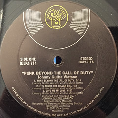 JOHNNY GUITAR WATSON:FUNK BEYOND THE CALL OF DUTY(LABEL SIDE-A)
