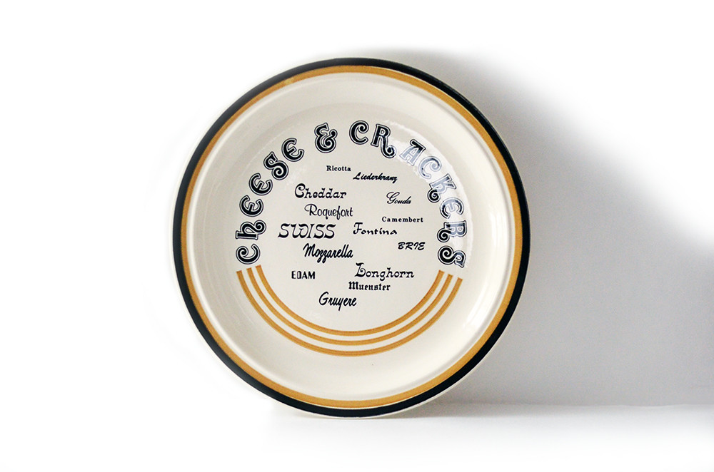 Vintage Cheese and Crackers Serving Plate