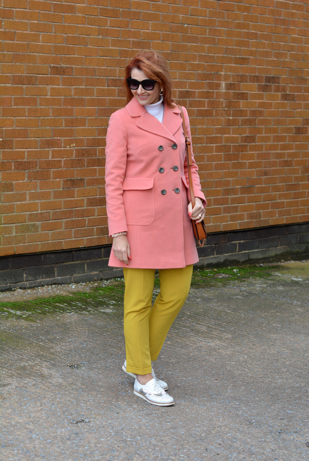 Winter style: Peach coat with mustard yellow and white | Not Dressed As Lamb