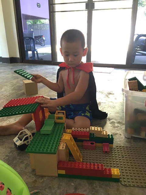 Jack playing with lego