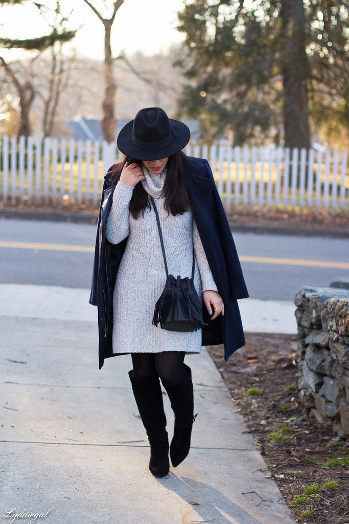 grey sweater dress, fringe bucket bag, wool hat, boots-3.jpg