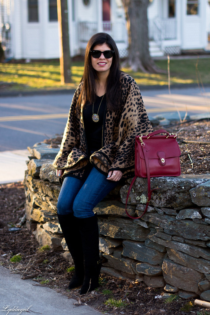 leopard poncho, black tee, black boots, red coach bag-8.jpg