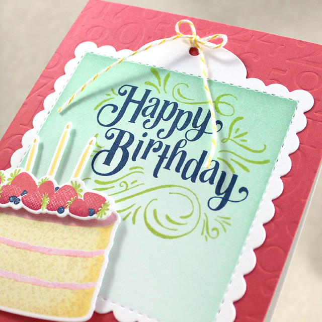 Strawberry Birthday Cake Card Close Up