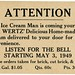 The Wertz Ice Cream Man Is Coming Your Way Starting May 3, 1949 by Alan Mays