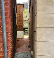 The not so secret passage through buildings on Shenandoah St. It's hard to find a straight line in Harpers Ferry buildings, due to the hand craftsmanship of the 19th century. One of the best places to explore the details of our historic structures, is in