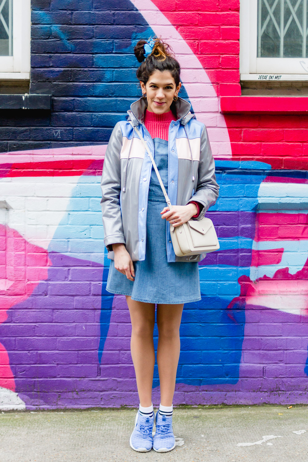 trainers, rain mac, pinafore dress