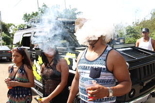 Vaping in Puerto Rico during block party festival
