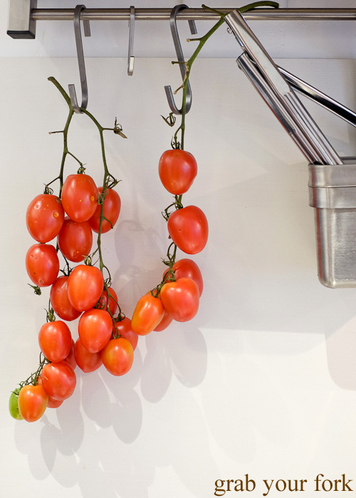 Homegrown cherry tomatoes in the kitchen