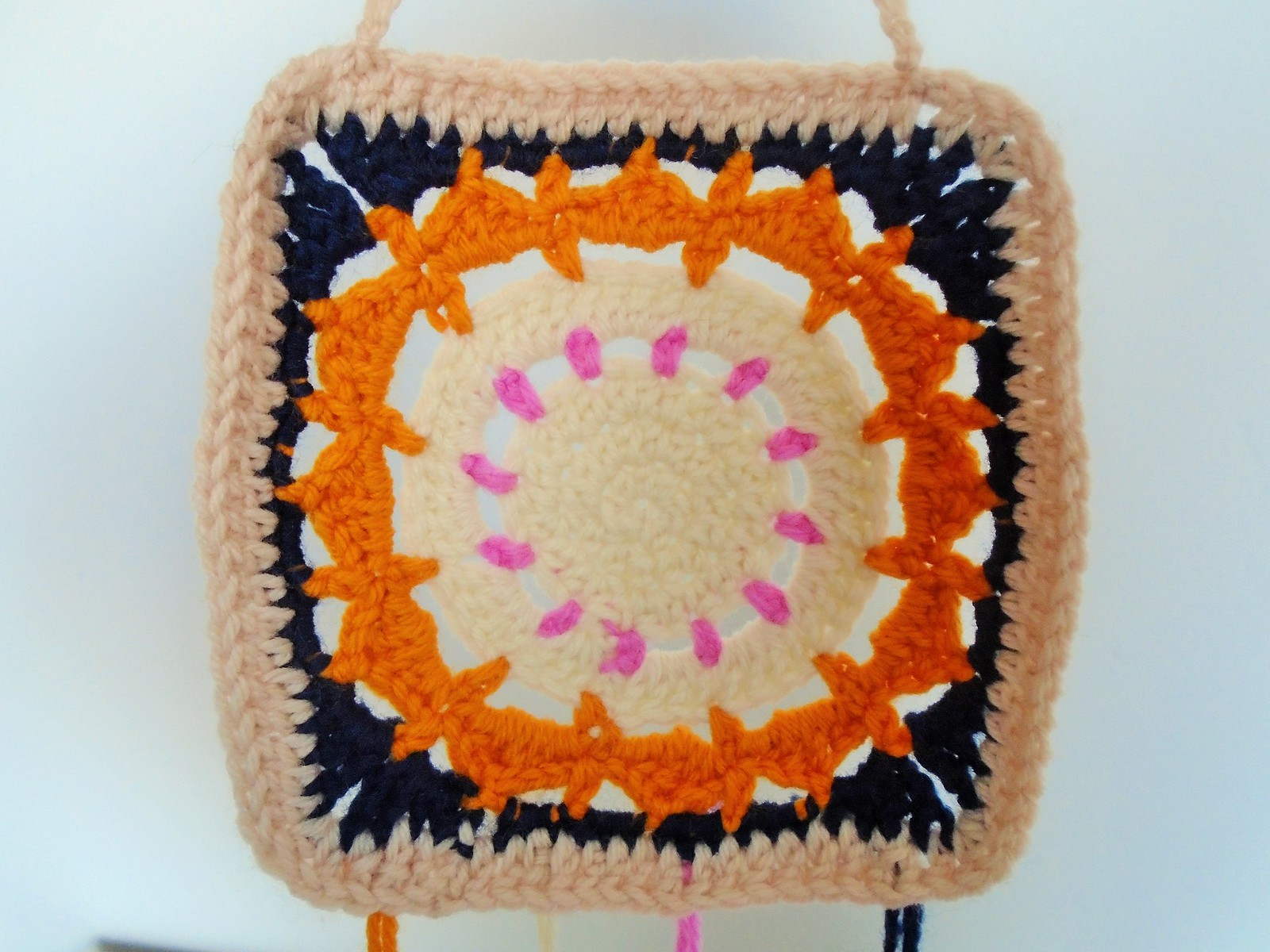 flower power granny square wall hanging by woolapple