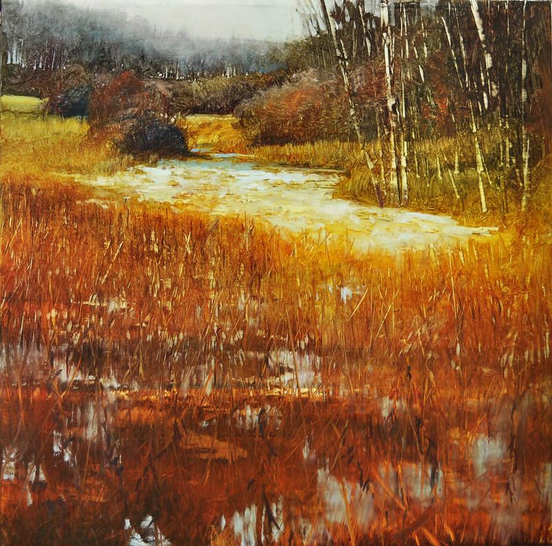 riparian winter, oil on linen, 18x18