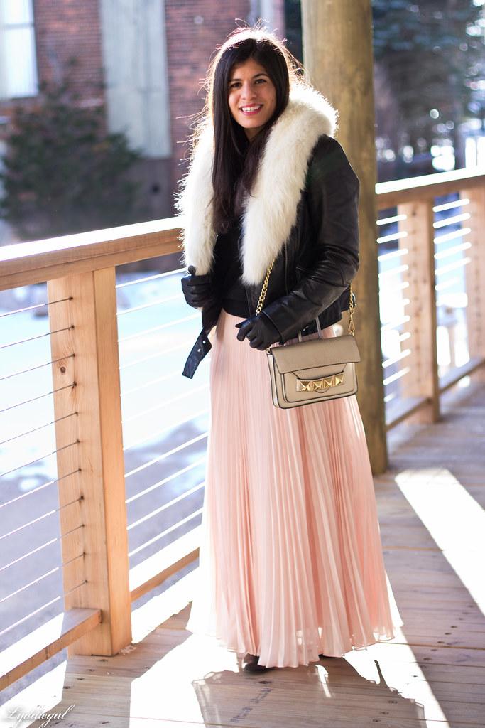 blush pleated maxi skirt, leather moto jacket, fur collar-2.jpg