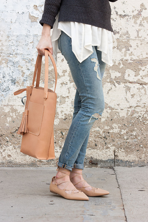 Nude Lace Up Flats, Minnie and George