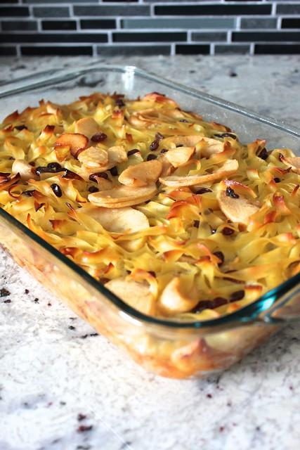 Sweet Apple Noodle Kugel with Pickled Raisins