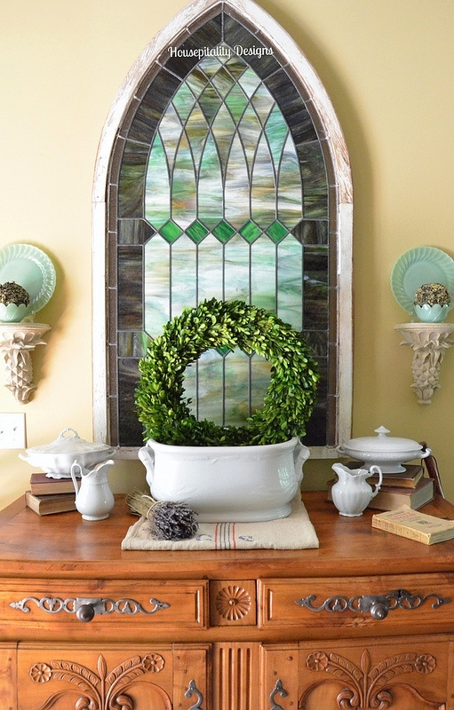 Stained glass/French Antique Buffet - Housepitality Designs