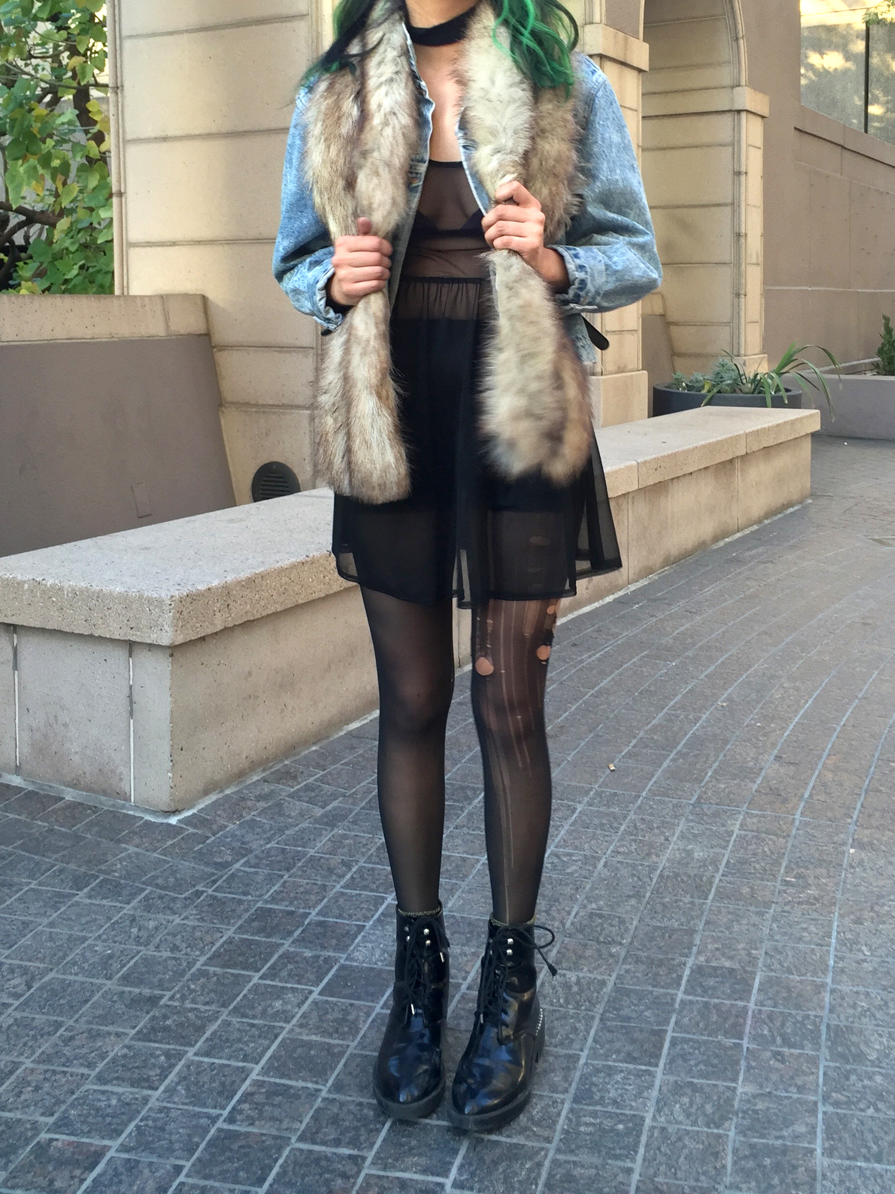 Gypsy Warrior sheer dress, boots, ripped tights, faux fur scarf, denim jacket, Karen Walker sunglasses, green hair