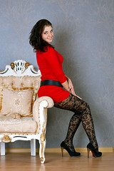 Arinka, red and tights
