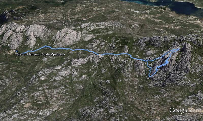 Il percorso verso Scala Mpedrada visto suGoogle Heart per mezzo della traccia GPS.