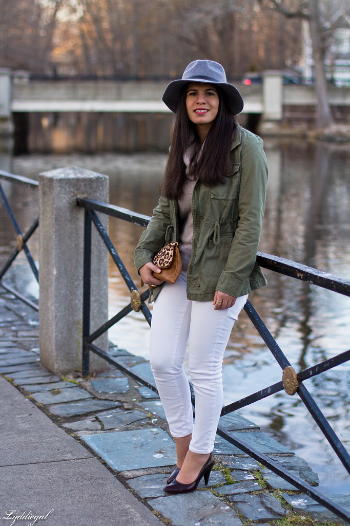 camel sweater, white jeans, field jacket, grey fedora-8.jpg