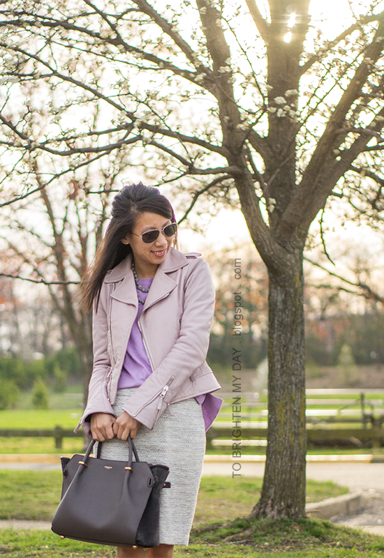 lilac leather jacket, gray silk wrapped pearl necklace, lilac sweater, tweed pencil skirt