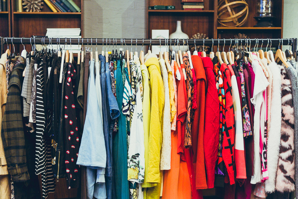 #TheBloggersMarket colourful rail of clothes rainbow