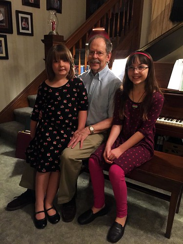 Lucy and Julia with Mr. Palmer at his retirement reception