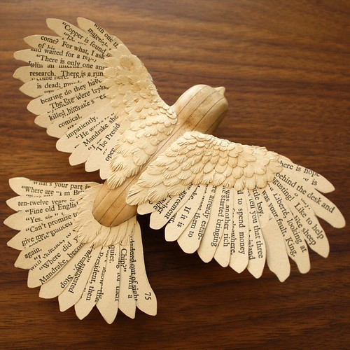 Paper and Wood Robin Sculpture