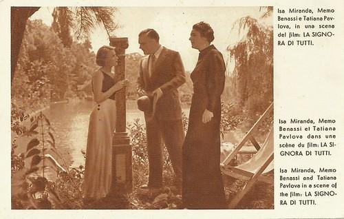 Isa Miranda, Memo Benassi and Tatiana Pavlova in La signora di tutti (1934)