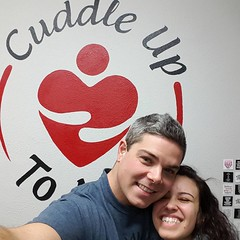 Visit @cuddleuptome for a HUG!  The Pro Cuddlers are certified. #cuddling #photo at The Studio by Sam's #logo #Oregon #snuggles