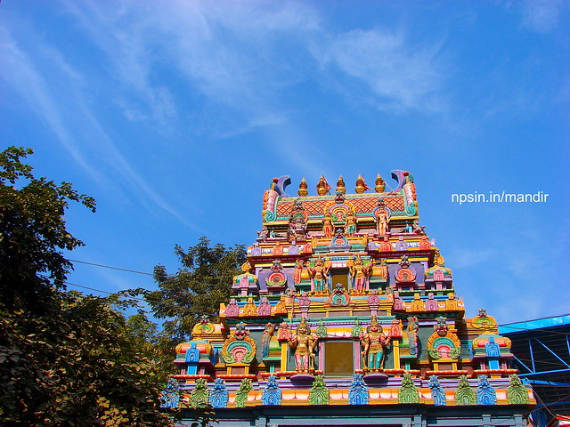 Green, Skyblue and Colorful Picture of Temple
