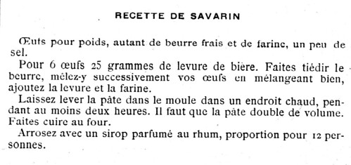 Recette de savarin de 1898