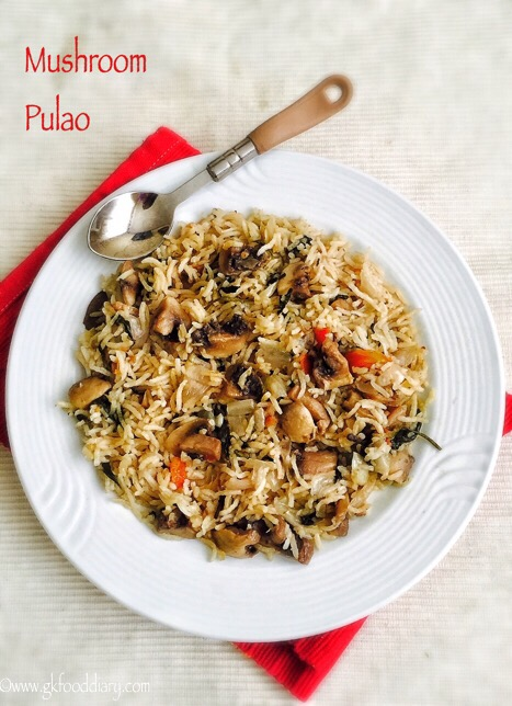 Mushroom Pulao Recipe for Toddlers and Kids